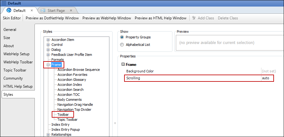 Enabling Scrolling for Toolbars and Navigation Frames