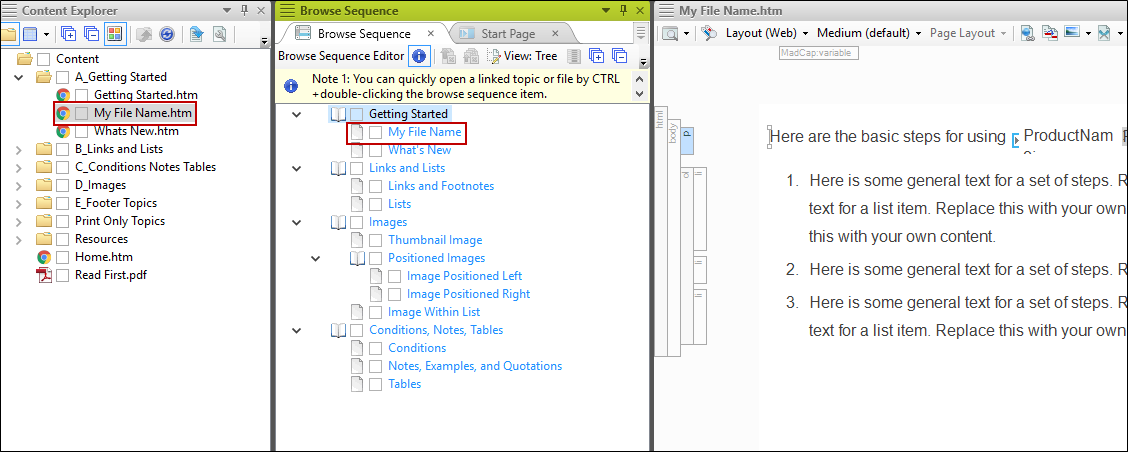 Creating a Browse Sequence Manually
