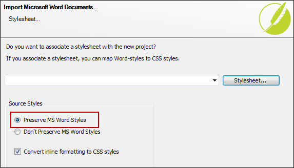 During The Process Of Importing Your Word Document Using Import Microsoft Wizard You Select Option To Preserve Styles